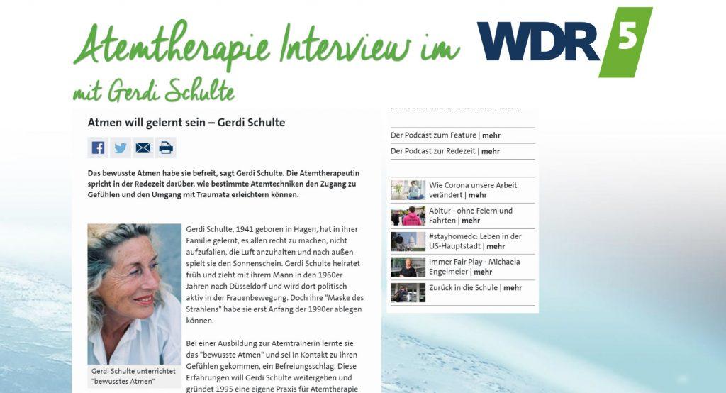 Interview: Atmen will gelernt sein Gerdi Schulte